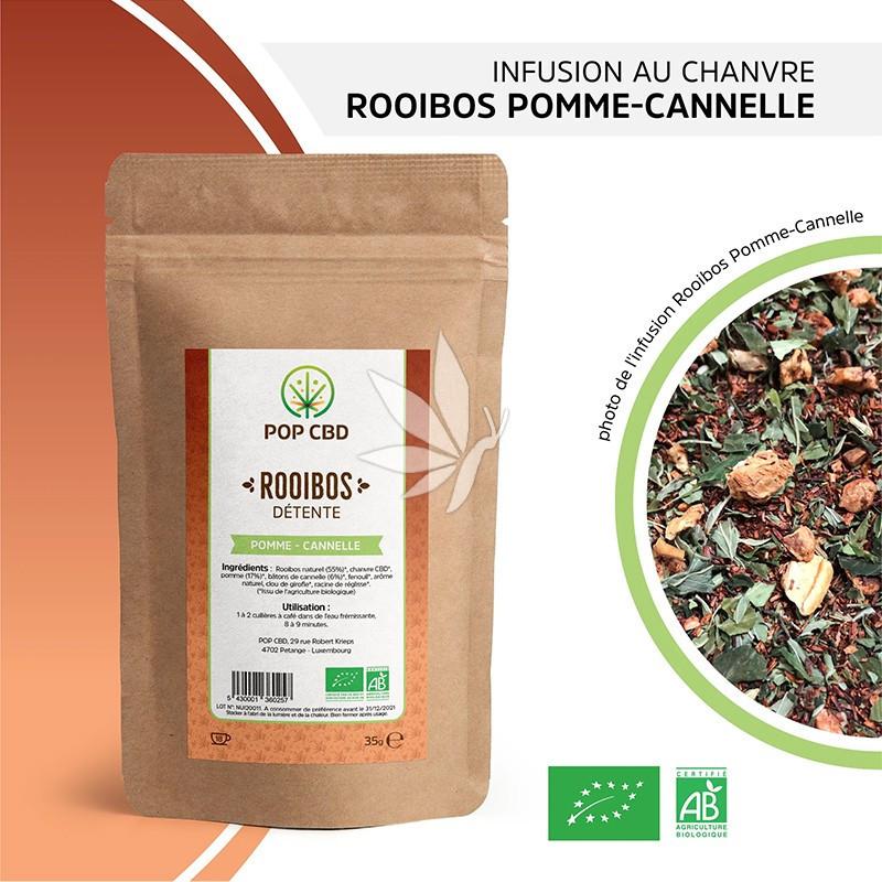 Infusion au chanvre   ROOIBOS Pomme / Cannelle - 35g   Gamme Bien-être