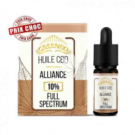 Huile Alliance 10% de CBD Spectre complet - 10ml - Greeneo®