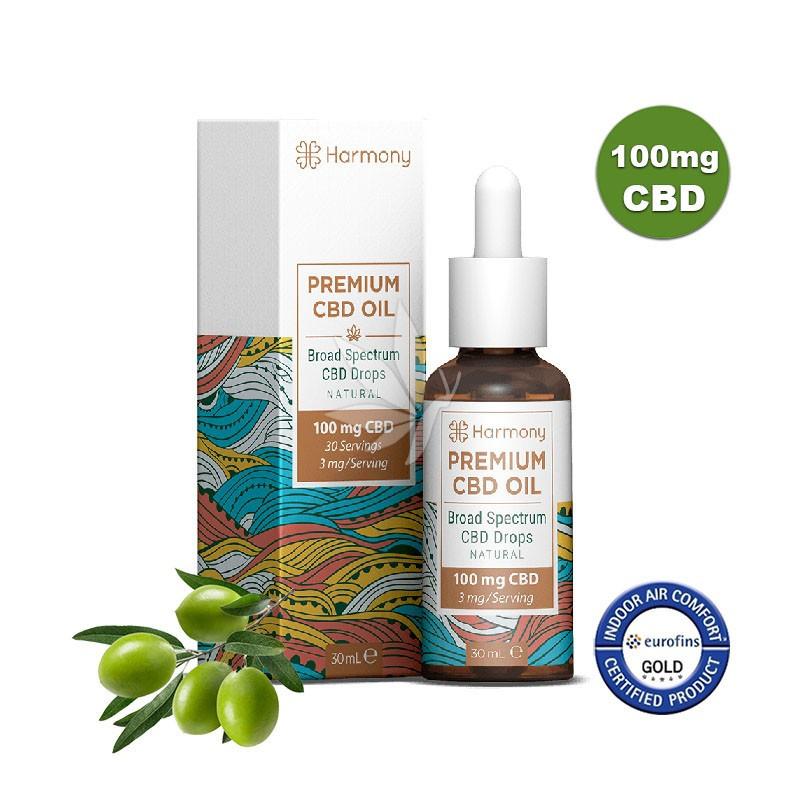Huile MCT et d'olive 100mg de CBD - Spectre large - 30ml - Harmony®