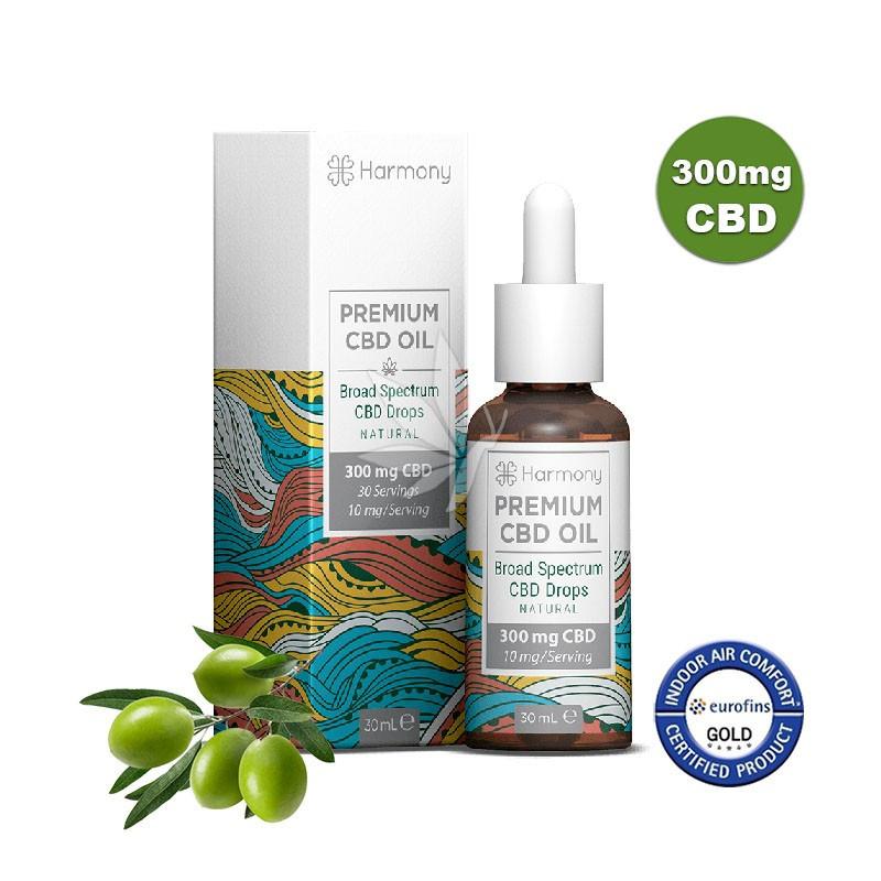 Huile MCT et olive 300mg de CBD - Spectre large - 30ml - Harmony®