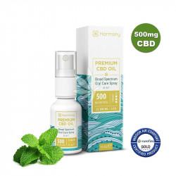 Spray à l'huile de chanvre 500mg de CBD à la menthe - Spectre large - 15ml - Harmony®