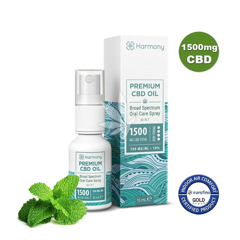 Spray à l'huile de chanvre 1500mg de CBD à la menthe - Spectre large - 15ml - Harmony®
