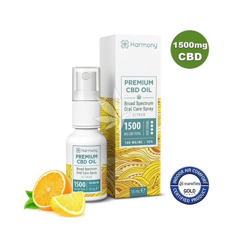 Spray à l'huile de chanvre 1500mg de CBD aux agrumes - Spectre large - 15ml - Harmony®