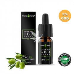Huile MCT 3% CBD spectre large à l'huile d'olive 10ml - PharmaHemp®