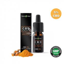 Huile MCT 5% CBD spectre large à l'huile d'olive et curcuma 10ml - PharmaHemp®